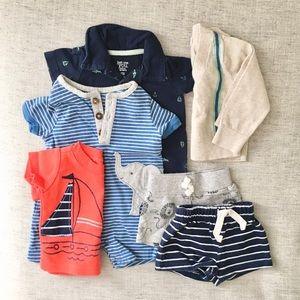 6 pc. Newborn Summer Romper Shorts Bundle NB